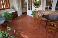 Hexagonal floor tiles - terracotta