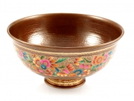 Mexican copper vessel sink - gold plated