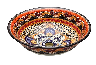 Ynes - Orange Mexican Vessel Sink