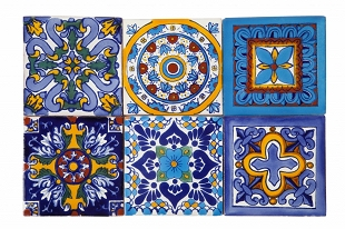 Set of six tile designs - 30 tiles - blue and yellow color