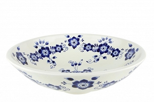 Stella - white and blue spherical counter top basin from Mexico